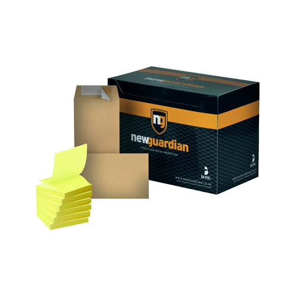 Manila Plain New Guardian DL Envelope Peel and Seal Manilla (500 Pack) FOC Post-it Notes Yellow Pk6 JDE814020