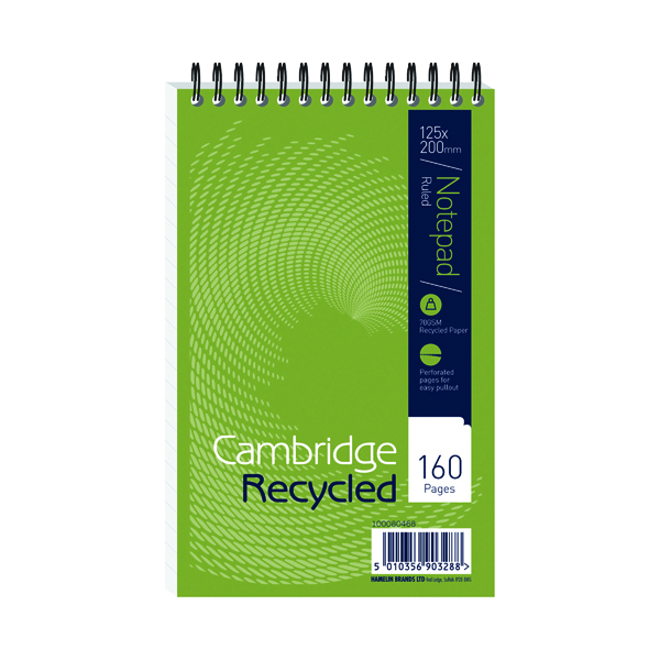 127x203mm Cambridge Recycled Wirebound Reporter's Notebook 160 Pages 125 x 200mm (10 Pack) 100080468