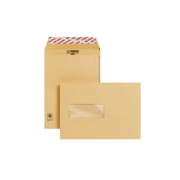 New Guardian C5 Envelopes Window Pocket Peel and Seal 130gsm Manilla (250 Pack) F26639