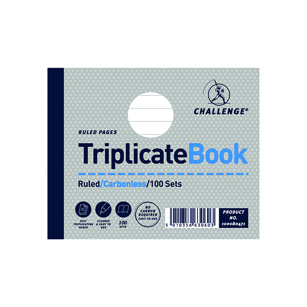 Challenge Ruled Carbonless Triplicate Book 100 Sets 105x130mm (5 Pack) 100080471