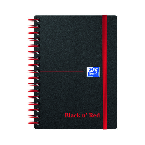 A6 Black n' Red Ruled Polypropylene Wirebound Notebook 140 Pages A6 (5 Pack) 100080476