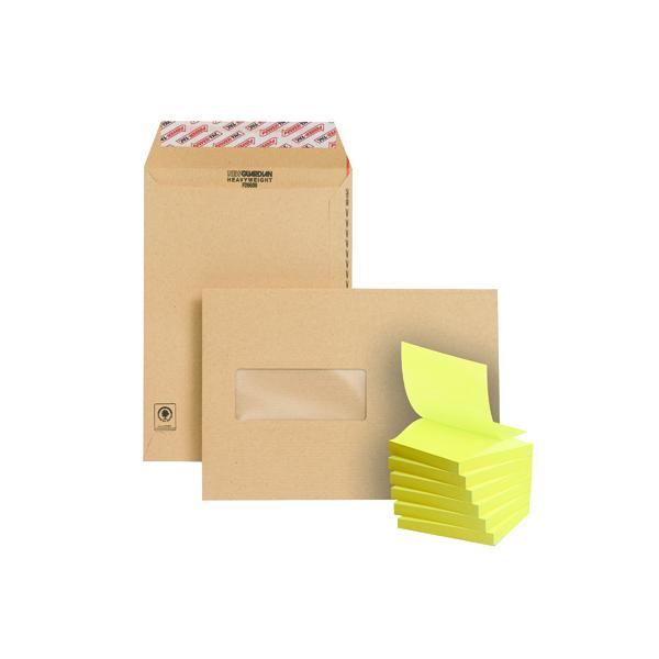 Manila Window New Guardian C5 Window Envelope Manilla (250 Pack) FOC Post-it Notes Yellow Pk6 JDF814005