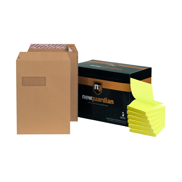 New Guardian C4 Window Envelope Manilla (250 Pack) FOC Post-it Notes Yellow Pk6 JDF814006