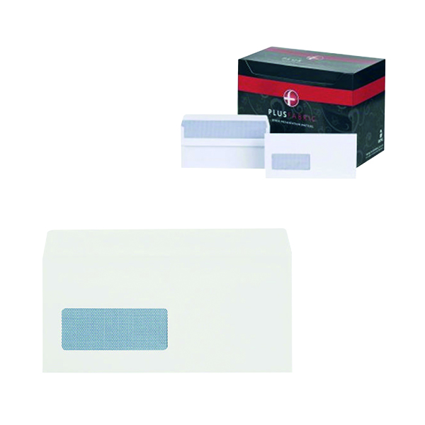 Plus Fabric DL Envelopes Window Wallet Self Seal 120gsm White (500 Pack) J22370