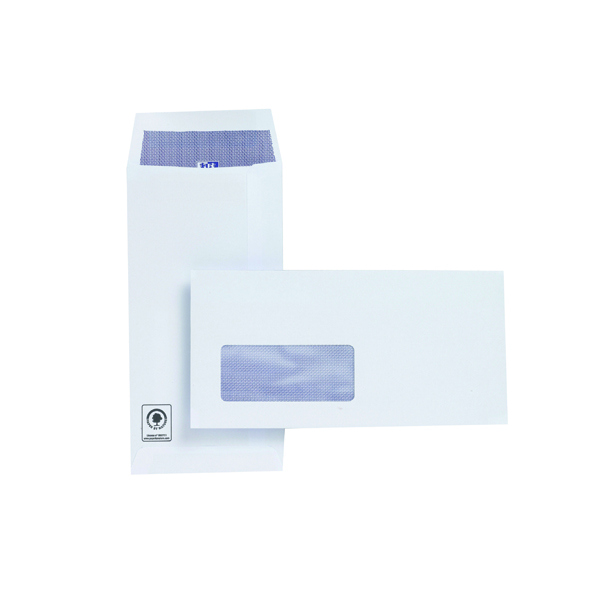 Plus Fabric DL Envelopes Window Pocket Self Seal 120gsm White (500 Pack) J26670