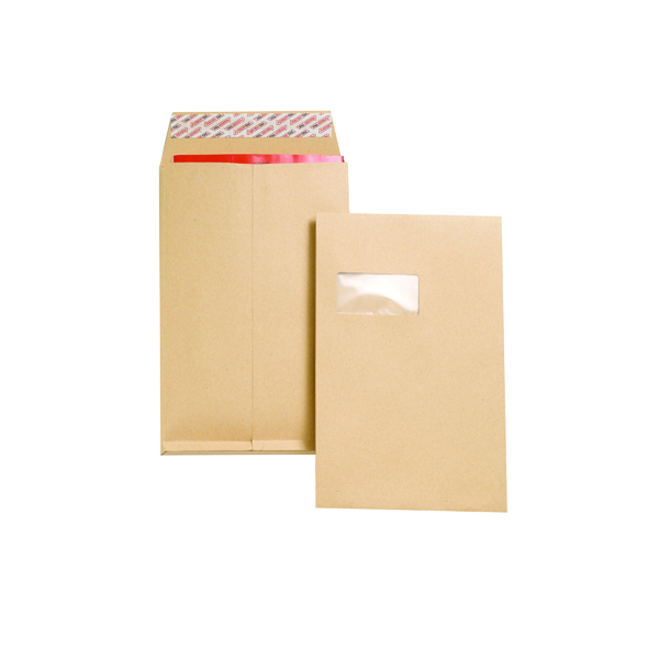 New Guardian C4 Envelopes Window Gusset Peel and Seal 130gsm Manilla (100 Pack) J27366