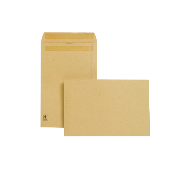Manila Plain New Guardian Envelope 381x254mm Pocket Self Seal 130gsm Manilla (250 Pack) J27403