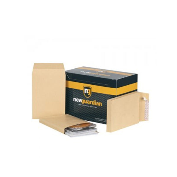 New Guardian Armour Envelope Gusset Peel and Seal 330x260x50mm 130gsm Manilla (100 Pack) J28203