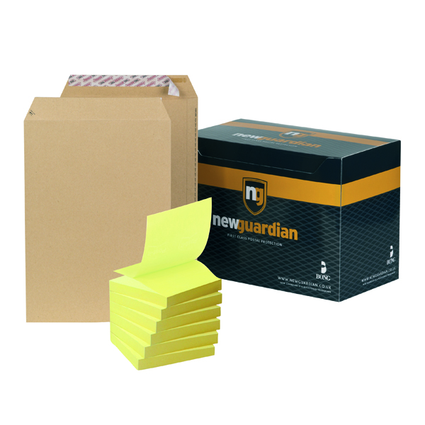 New Guardian C4 Envelope Peel and Seal Manilla (250 Pack) FOC Post-it Notes Yellow Pk6 JDJ814007