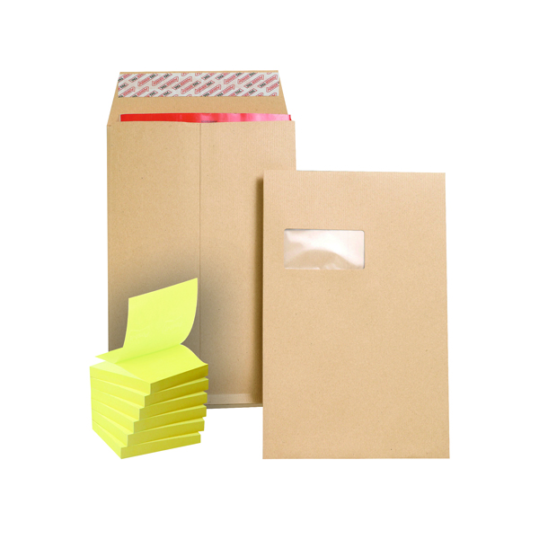 Gusset Plain & Window New Guardian C4 Gusset Window Envelope Manilla (100 Pack) FOC Post-it Notes Yellow Pk6 JDJ814008
