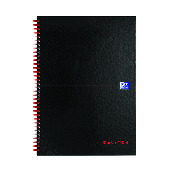 Ruled Black n' Red 5mm Square Wirebound Hardback Notebook A4 (5 Pack) 846350102