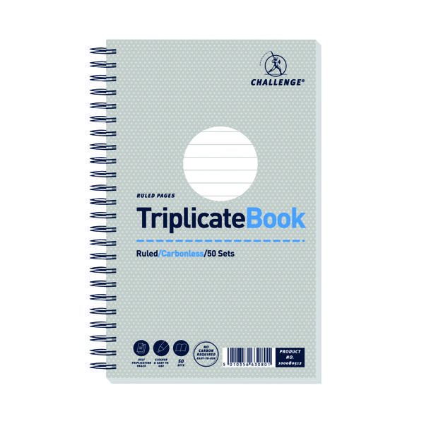 Triplicate Challenge Ruled Wirebound Carbonless Triplicate Book 50 Sets 210x130mm (5 Pack) 100080512