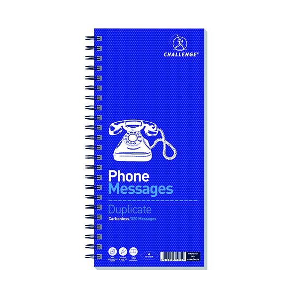 Duplicate Challenge Wirebound Telephone Message Book 305 x 141mm 320 Messages 100080054