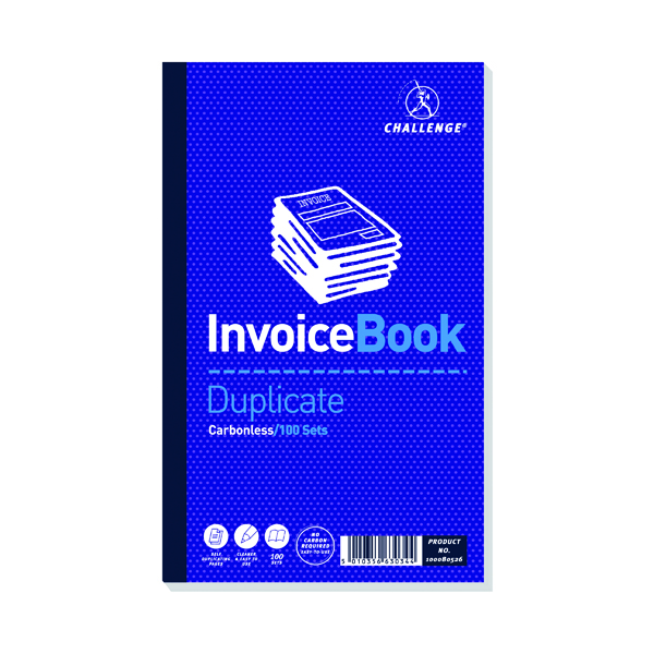 Duplicate Challenge Carbonless Duplicate Invoice Book 100 Sets 210x130mm (5 Pack) 100080526