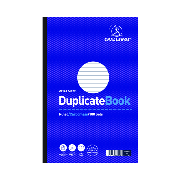 Duplicate Challenge Ruled Carbonless Duplicate Book 100 Sets 297x195mm (3 Pack) 100080527