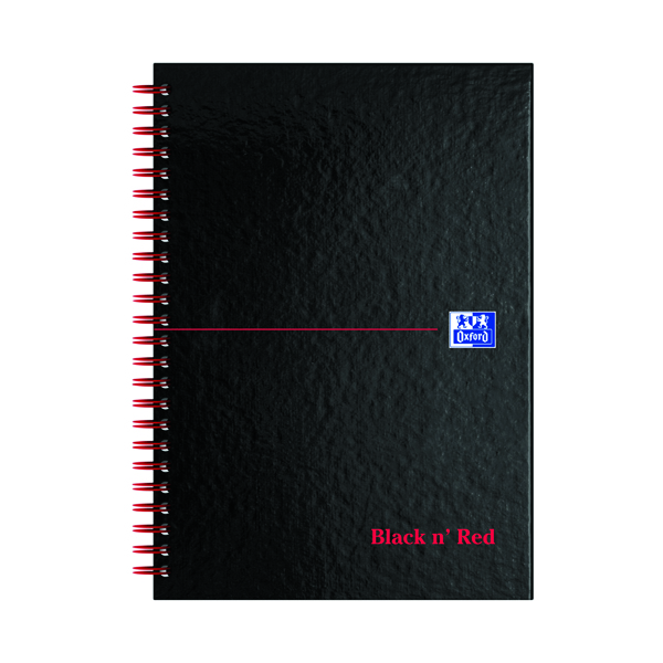 Ruled Black n' Red Ruled Perforated Wirebound Hardback Notebook A5 (5 Pack) 846350112