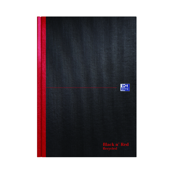 Recycled Black n' Red Recycled Casebound Hardback Notebook 192 Pages A4 (5 Pack) 100080530