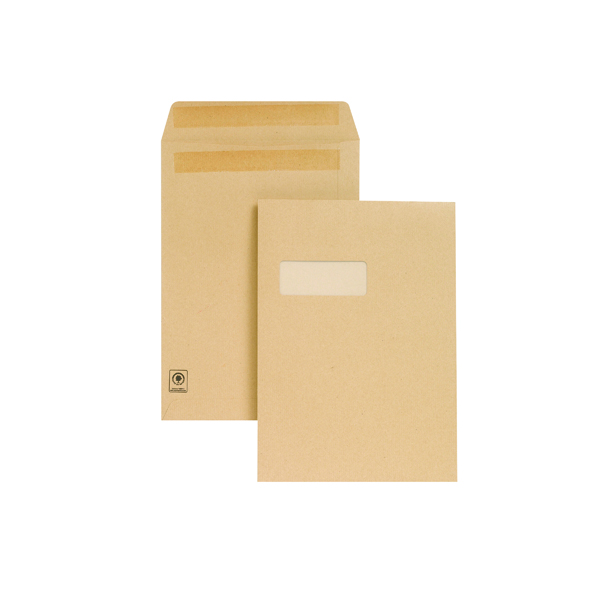 New Guardian C4 Envelopes Window Pocket Self Seal 130gsm Manilla (250 Pack) M27503
