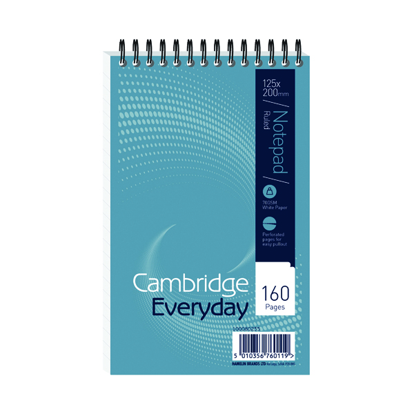 8x5in Cambridge Everyday Ruled Wirebound Notebook 160 Pages 125 x 200mm (10 Pack) 846200078