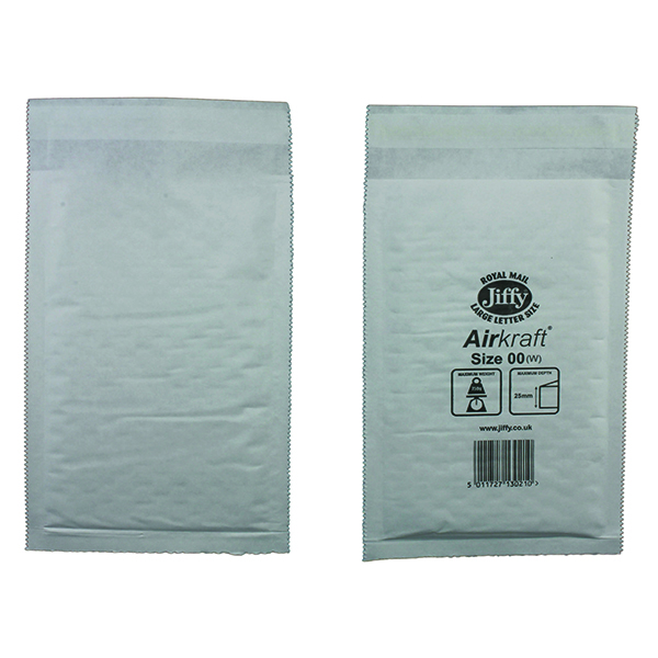 Bubble Jiffy AirKraft Bag Size 00 115x195mm White (100 Pack) JL-00