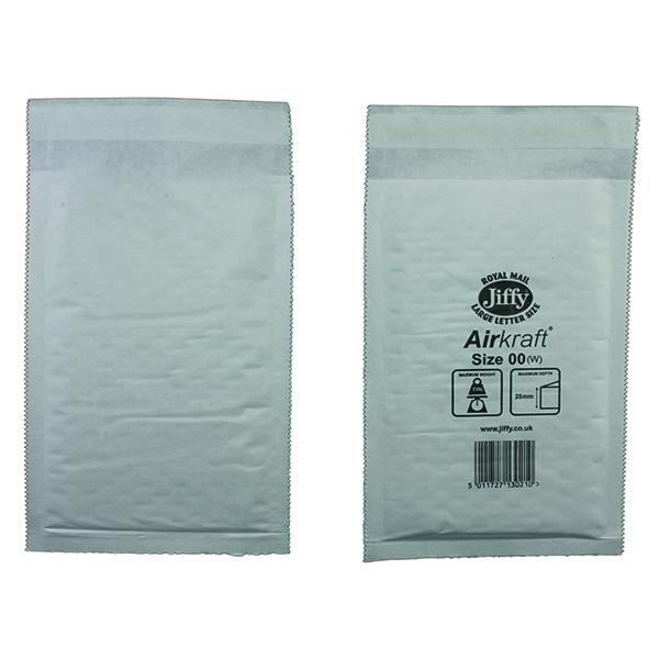 Jiffy AirKraft Bag Size 00 115x195mm White (100 Pack) JL-00