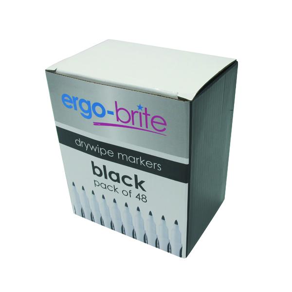 Black Ergo-Brite Drywipe Marker Rubber Grip Black (48 Pack) JN10110