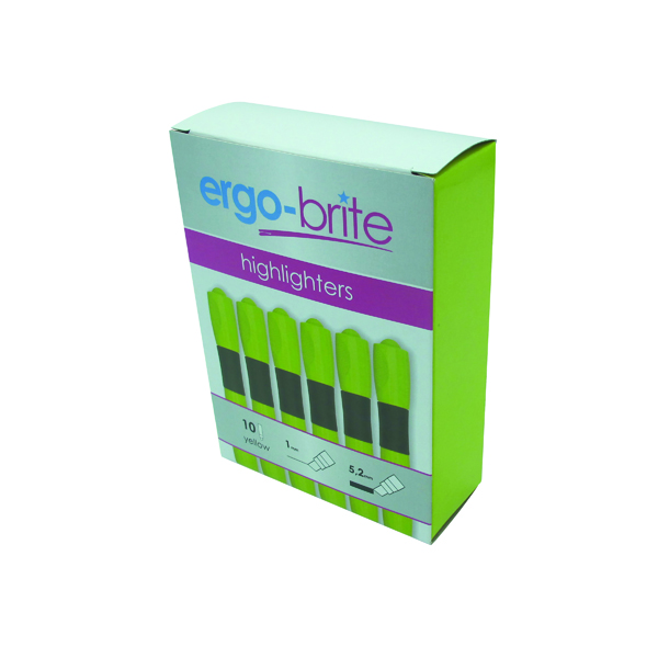 Yellow Ergo-Brite Ergonomic Highlighter Pen Yellow (10 Pack) JN69979