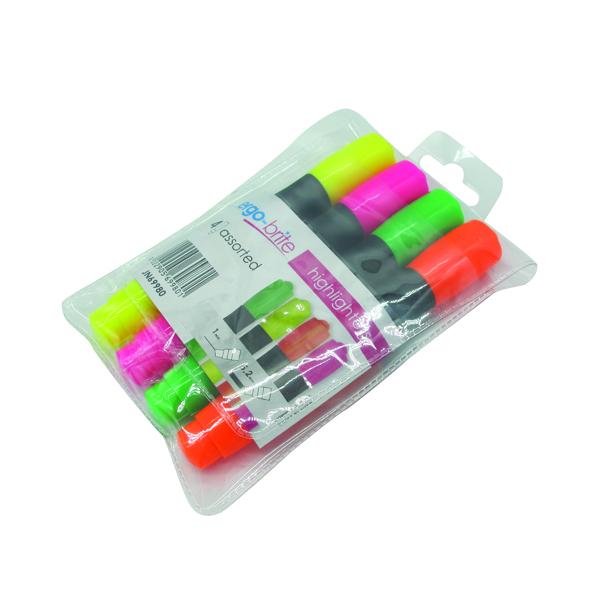 Ergo-Brite Assorted Erognomic Highlighter Pens (4 Pack) JN69980