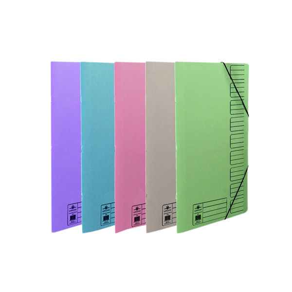 Concord Elasticated 9-Part File Foolscap Assorted (10 Pack) 19099