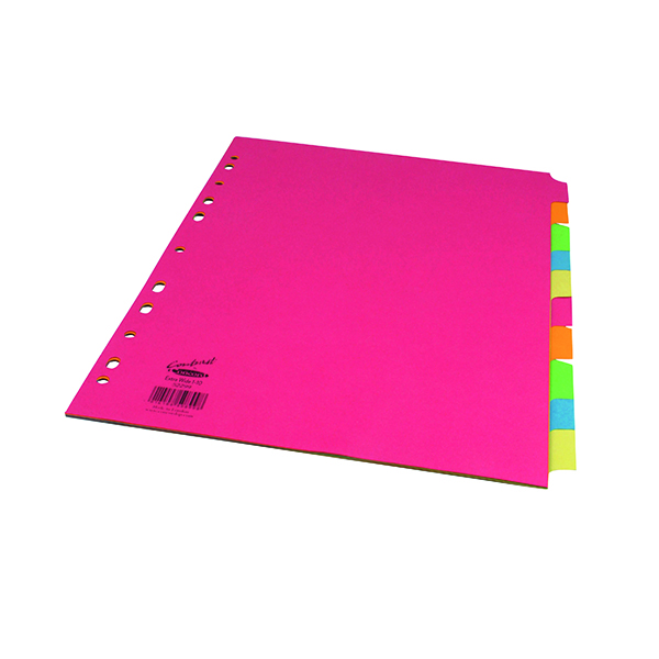 Concord 10-Part Subject Dividers Extra Wide Bright A4 Assorted (20 Pack) 52299