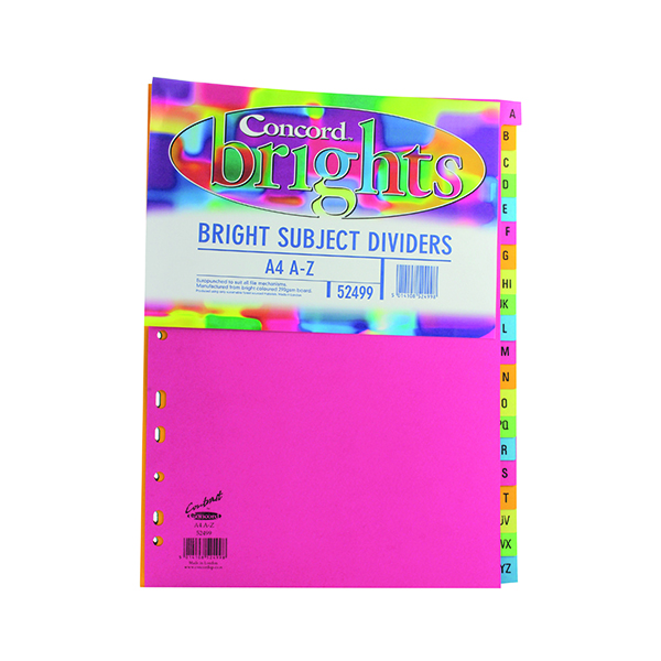 Concord 20-Part A-Z Subject Dividers A4 Bright Assorted (10 Pack) 52499