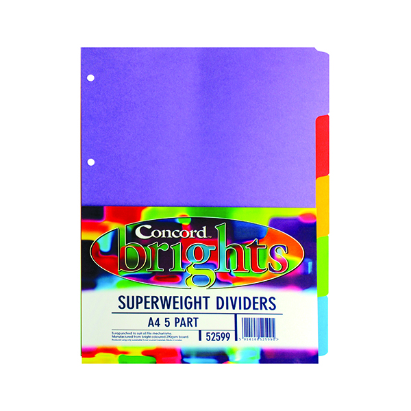 Concord 5-Part Subject Divider Superweight Bright A4 Assorted 52599/525