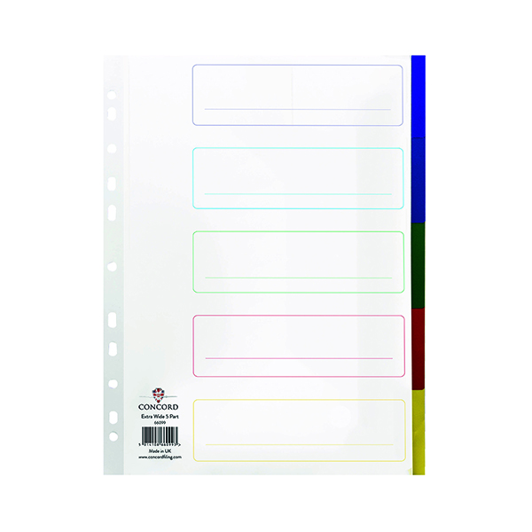 Concord 5-Part Extra Wide Index Polypropylene Multicoloured  A4 66099