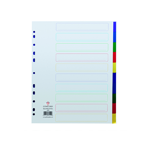 Concord 10-Part Extra Wide Index Polypropylene Multicoloured A4 66199
