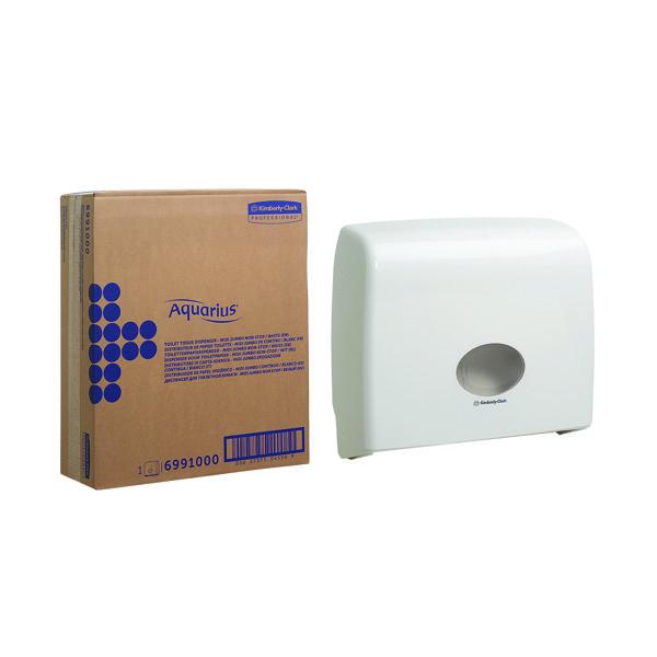 Toilet Tissue & Dispensers Aquarius Ripple Midi Jumbo Non-Stop Toilet Tissue Dispenser White 6991