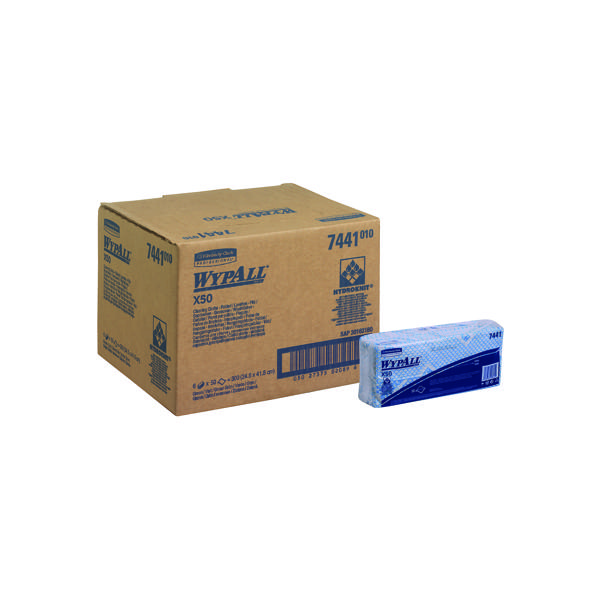 Wypall X50 Cleaning Cloths Blue (50 Pack) 7441