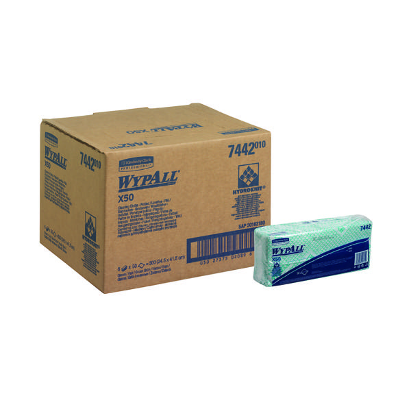 Wypall X50 Cleaning Cloths Green (50 Pack) 7442