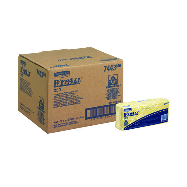Wypall X50 Cleaning Cloths Yellow (50 Pack) 7443