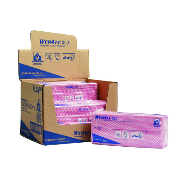 Wypall X50 Cleaning Cloths Red (50 Pack) 7444
