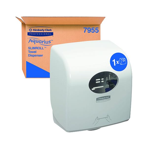 Hand Towels & Dispensers Aquarius Slimroll Rolled Hand Towel Dispenser White 7955