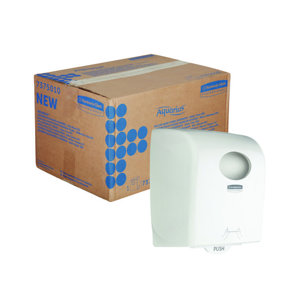 Hand Towels & Dispensers Aquarius Large Roll Rolled Hand Towel Dispenser White 7375