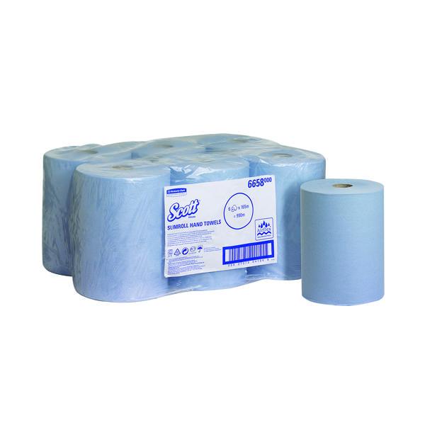 Hand Towels & Dispensers Scott Slimroll Hand Towel Roll Blue 165m (6 Pack) 6658