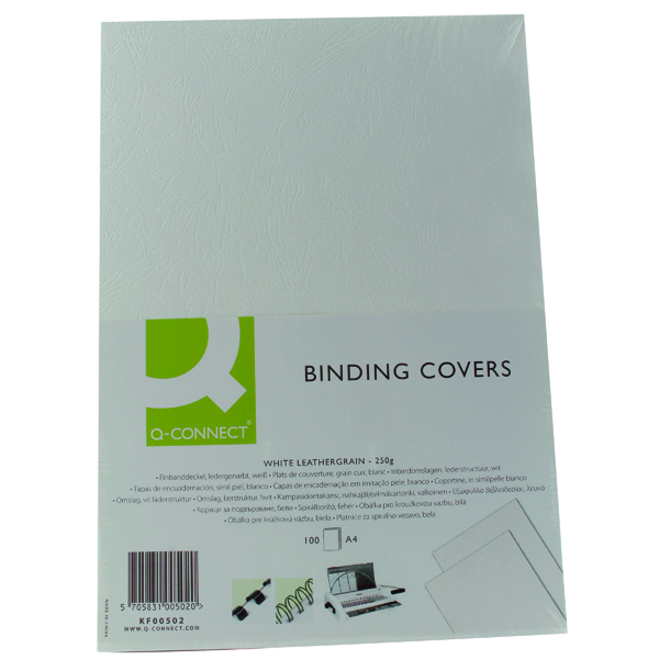 Q-Connect A4 White Leathergrain Comb Binder Cover (100 Pack) KF00502