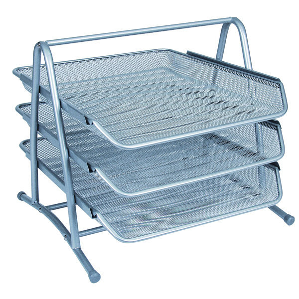 Letter Tray Q-Connect 3 Tier Letter Tray Silver KF00822