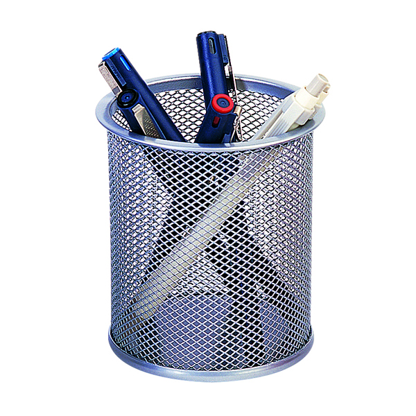 Cup Q-Connect Mesh Pen Pot Silver KF00846