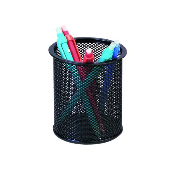 Cup Q-Connect Mesh Pen Pot Black KF00864