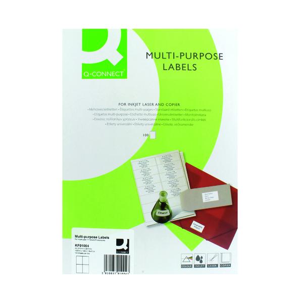 Q-Connect Multipurpose Copier Labels 105x148mm 4 Per Sheet White (400 Pack) KF01004