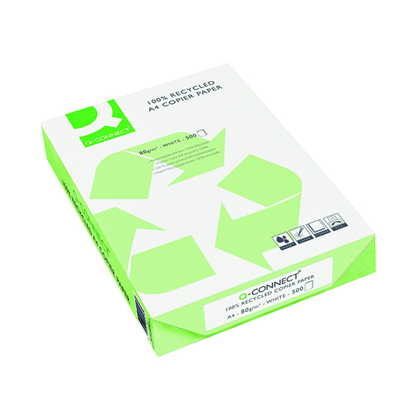 White 80gsm Q-Connect White Recycled Copier Paper Ream 80gsm (2500 Pack) KF01047