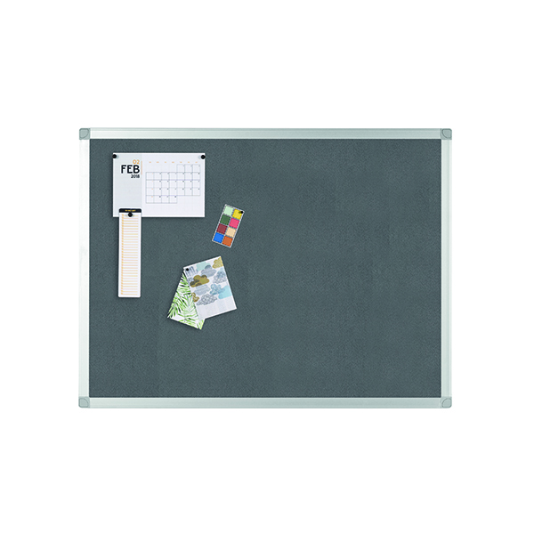 Felt Q-Connect Aluminium Frame Felt Noticeboard 900x600mm Grey 9700025