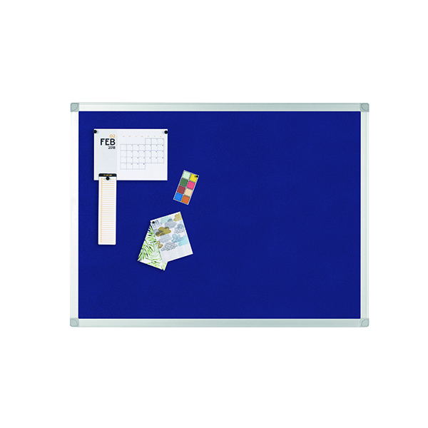 Felt Q-Connect Aluminium Frame Felt Noticeboard 900x600mm Blue 9700028